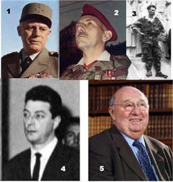 1 - General Raoul Salan 2 - general Jacques Massu 3 - Pierre Lagaillarde harangant la foule au monument aux morts 4 - Leon Delbecque, c'est lui qui souffla a Salan le