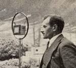 Edmond Dehorter, le ?Parleur inconnu?,  Premier radio-reporter sportif, reconstitue,  Avec Radiolo, son premier reportage   sur l?antenne de Radiola, le 6 juin 1923.