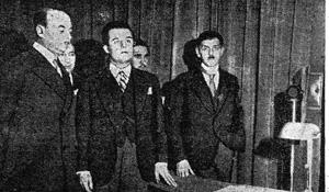 Radio-Paris etatise: Emile Girardeau, Jean Mistler,ministre des PTT,et Marcel Pellenc (de gauche a droite)